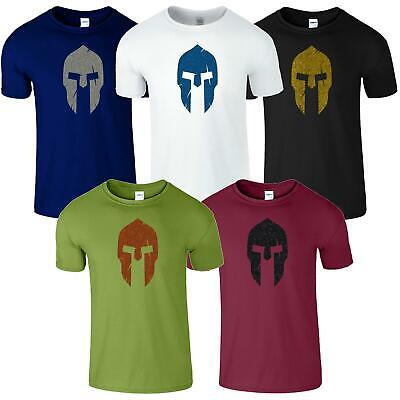 Spartan Helmet Mens T-Shirt Bodybuilding Gym Workout Top Gift Training Tshirt