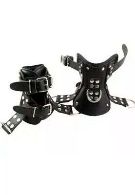 Genuine Leather Bondage Boot Cuffs With Full Padding