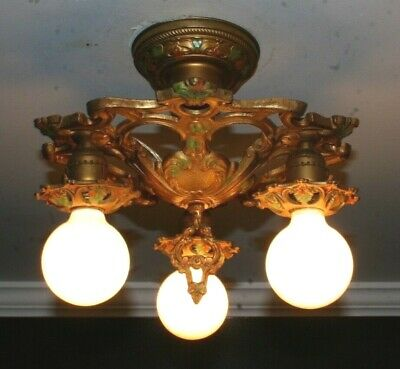 Antique cast iron polychrome Art Deco semi flush ceiling light fixture 3 socket