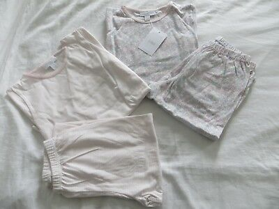 BNWT Girls White Company Cotton 2 Pack Pink Floral Striped Pyjamas Age 5-6yrs