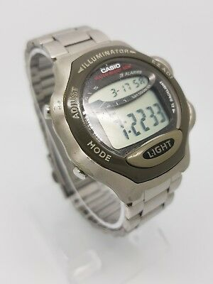 Casio Illuminator Retro Watch with Stainless Steel Strap W-68H