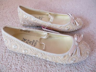 BNWT Girls Monsoon Gold Lace Shimmer Bridesmaid Party Ballerina Shoe Size 12
