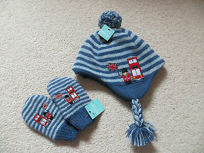 BNWT Boys Monsoon Union Jack Wool Knitted Trapper Hat & Mitten Set Age 0-12 mnth