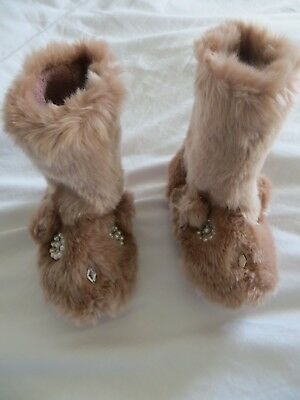BNWT Girls Monsoon Pink Faux Fur Bunny Rabbit Slipper Boots Size 9-10