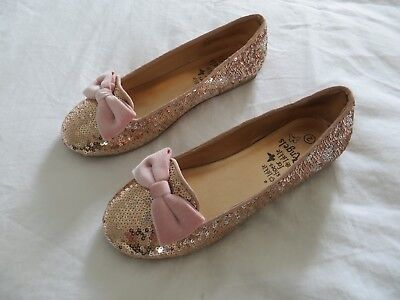 BNWT Girls Monsoon Rose Gold Pink Sequin Bow Bridesmaid Party Shoes Size 2