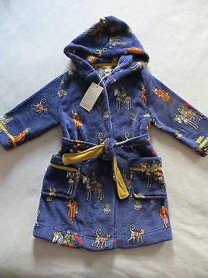 BNWT Boys Monsoon Hooded Blue Royal Edward Fleece Dressing Gown Robe Age 5-6