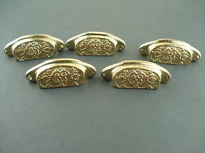 """Vintage Lot of  5 Large Brass Drawer Handles Pulls  3 1/4"""" wide x 1 1/8"""" Tall"""