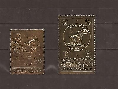 Ras Al Khaima Apollo Moon Mission Surveyor Perforated Gold Mnh Lux $$$$ H259