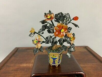 20th C. Chinese Jade Agate and Serpentine Flowering Bonsai Tree in Cloisonné Pla