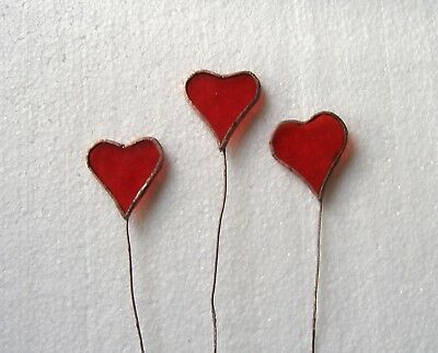 New Handmade Glass 3X Loveheart Accessory For Bouquet Of Flowers / Plant