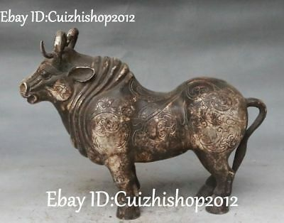 Antique Chinese Old Silver Fengshui Zodiac Year Bull Oxen Cattle Animal Statue