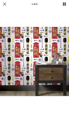 Graham & Brown Minions Despicable Me Hello London Wallpaper Bedroom Kids Play
