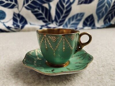 Coalport Green And Gold Demitasse Cup And Saucer