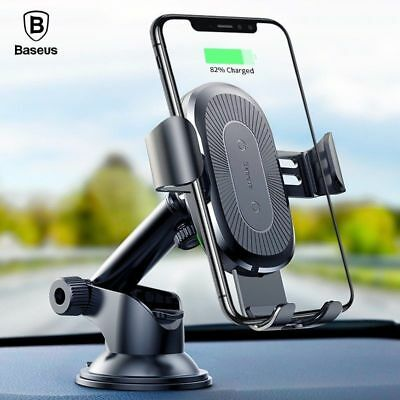 Baseus Wireless Car Charger Suction Cup Holder For iPhone X Xs XsMax Xr Samsung