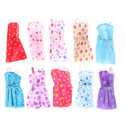 10Pcs  Doll Clothes Accessories Huge Lot Party Gown Outfits Girl Gift  BI
