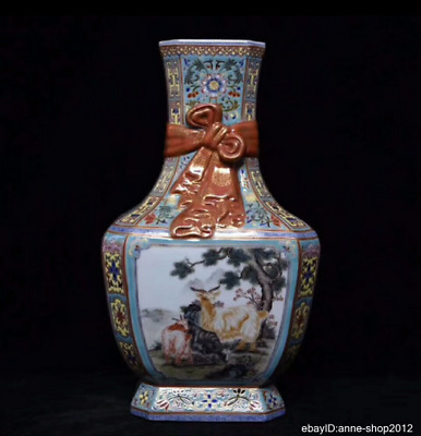 35cm China Five-colored Porcelain Pottery Handmade Animal sheep Vase AXZS