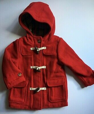 Baby Girls 9-12 Months M&S Red Hooded Wool Duffle Coat RRP £36