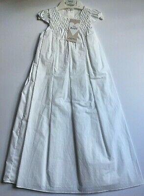 White Cotton Christening Gown w/Smocking Detail RRP £50 0-3 3-6 6-9 9-12  Months