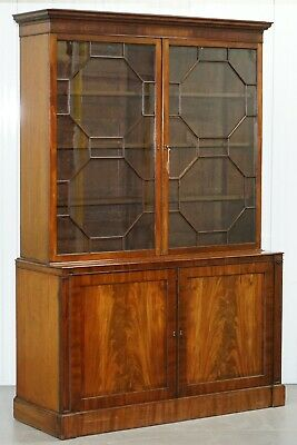 Rare 1920 Astral Glazed Mahogany Bookcase Cabinet Original Gillows Paper Labels