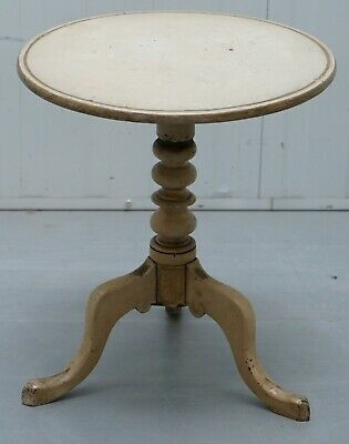 Nice Victorian Antique Tripod Lamp Side End Wine Table With Early Original Paint