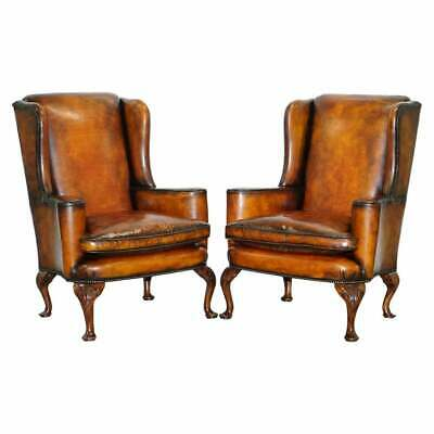 Restored Pair Of 18Th Century George Iii Style Wingback Brown Leather Armchairs