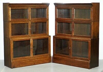 Original Pair Of Circa 1900 William Baker Co Oxford Stacking Modular Bookcases