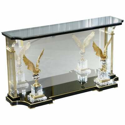 Lovely Rare Vintage Lucite Console Table With Bronzed Eagles Highly Decorative