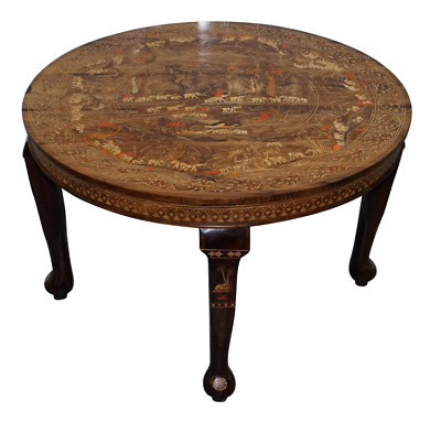 Very Rare Anglo Indian Rosewood Carved Round Dining Table Elephant Carved Inlay