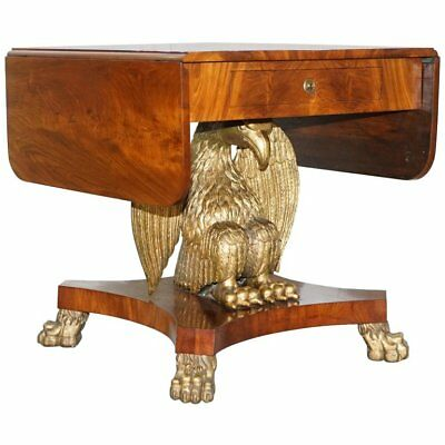Restored Swedish Biedermeier Circa 1850 Eagle Sofa Table Gold Gilt Eagle Federal