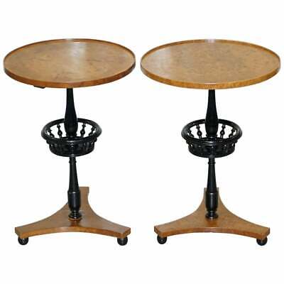 Nice Pair Of Restored Biedermeier Burr Walnut Side End Lamp Wine Tables Ebonised