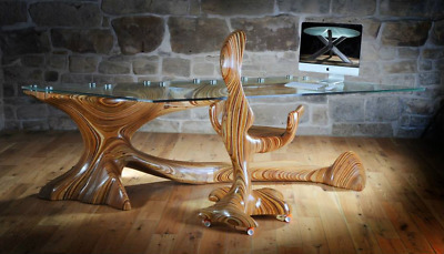 One Of A Kind Martin Rice Desk & Chair Huge Glass Top Sculpted Wood Tree Form