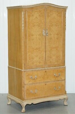 Small 158Cm Tall Maple & Co Art Deco 1930'S Burr Walnut Armoire Wardrobe Drawers