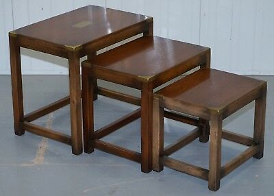 Lovely Rrp £2750 Rare Harrods London Mahogany Military Campaign Nest Of Tables