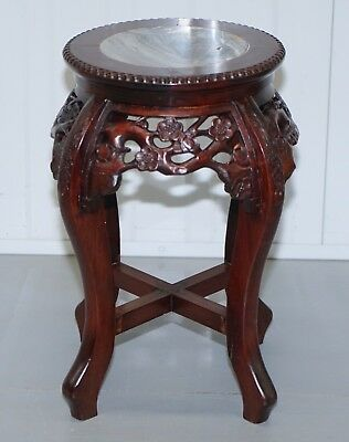 Chinese Circa 1860 Rosewood Hongmu Floral Tree Carved Jardiniere Plant Pot Stand