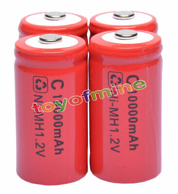 4 x C Rechargeable 1.2V Ni-MH 10000mAh Battery Cell RED