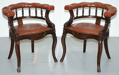 Lovely Pair Of Victorian Horse Shoe Back Chesterfield Buttoned Captians Chairs