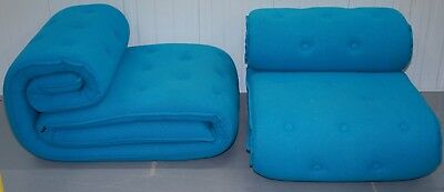 1 OF 2 RRP £4440 VERSUS ROULADE LOUNGE LOVE ARMCHAIRS BY KiBiSi IN BLUE FABRIC