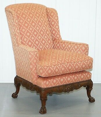 Rare 19Th Century Thomas Chippendale Easy Wingback Armchair Heavily Carved Wood