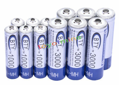 6 AA+6 AAA 1000mAh 3000mAh 1.2V NI-MH rechargeable battery CELL/RC MP3 2A 3A BTY