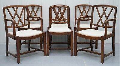 Set Of 6 Arts & Crafts Libertys London Dining Chairs Ianthe Calico Upholstery