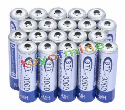 20 pcs X AA BTY Rechargeable Battery 3000mAh Ni-MH 1.2V
