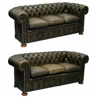 Matching Pair Of 1950'S Chesterfield Leather Sofas Feather Cushions Coil Sprung