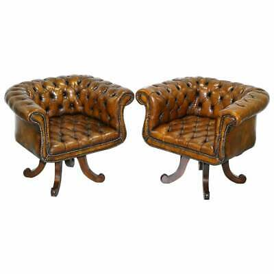 Restored Pair Victorian Brown Leather Chesterfield Office Club Chairs Armchair