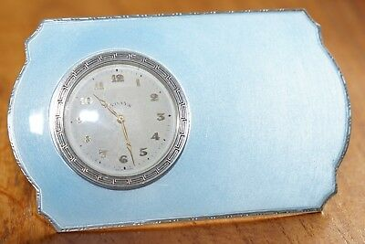 Rare 1938 Asprey Solid Sterling Silver Art Deco Guilloche Enamel 8 Day Clock