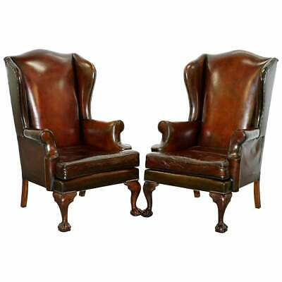 1930's Pair Of Fully Restored Claw & Ball Wingback Cigar Brown Leather Armchairs