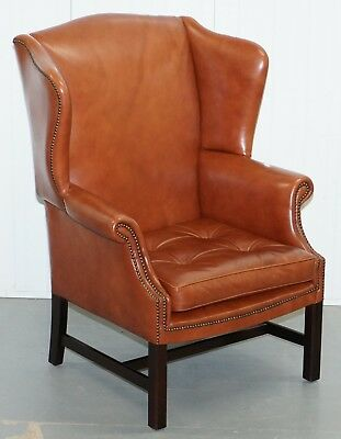 Wingback Brown Leather Armchair Floating Button Chippendale Chesterfield Cushion