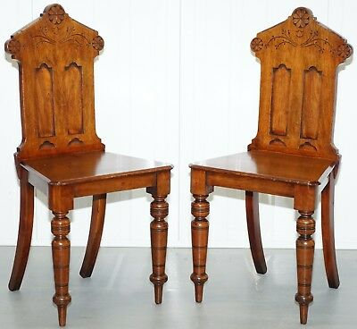 Pair Of Stunning Regency Mahogany Circa 1830 Shield Back Hall Chairs Nice Patina