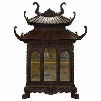 Antique Pagoda Hand Carved Top To Bottom Chinese Temple Cabinet Silk Inside