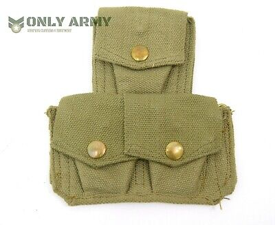 Enfield .303 Ammo Pouch Webbing Canvas British Army Issue 1937 Pat Ww2 Pouches