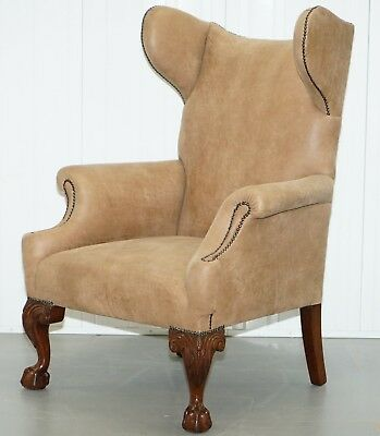18Th Century Georgian Irish Style Wingback Armchair Nubuck Leather Claw & Ball